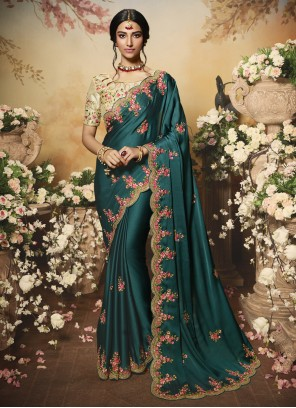 Chiffon Satin Teal Embroidered Designer Bollywood Saree
