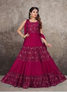 Chinon Anarkali Salwar Kameez in Pink