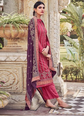 Chinon Embroidered Pant Style Suit in Pink