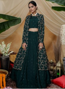Chinon Green Embroidered Long Choli Lehenga