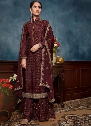 Chinon Sequins Burgundy Trendy Salwar Kameez