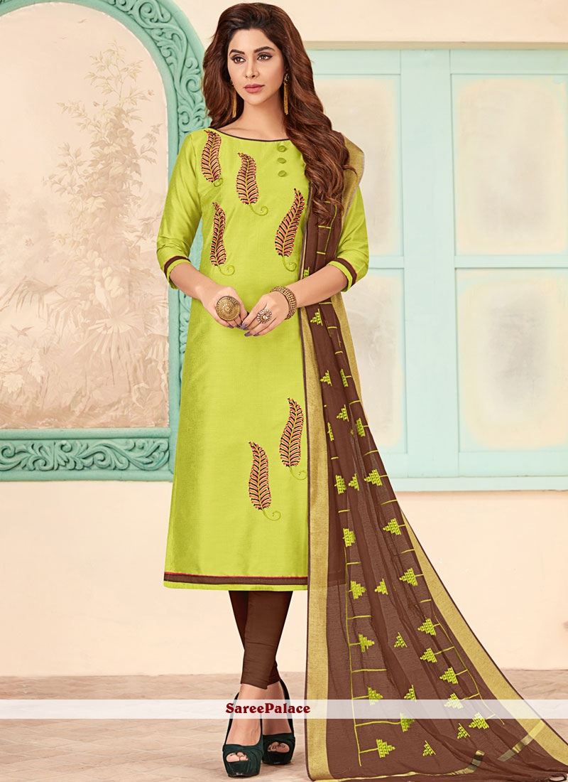 Churidar Designer Suit Embroidered Cotton in Green
