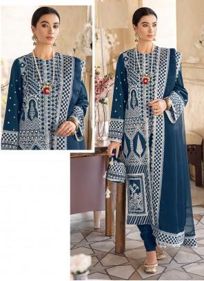 Churidar Designer Suit Embroidered Georgette in Blue