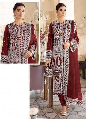 Red Churidar Designer Suit For Festival