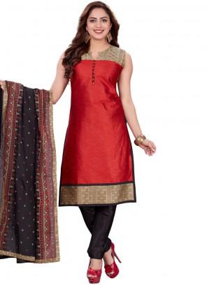 Churidar Designer Suit Print Banarasi Silk in Red