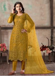 Churidar Designer Suit Sequins Net in Mustard