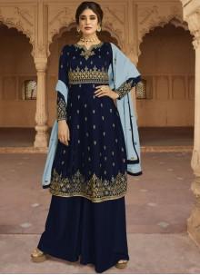 Churidar Salwar Kameez Embroidered Faux Georgette in Navy Blue