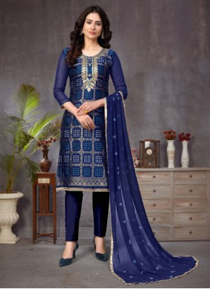 Churidar Blue Salwar Kameez For Ceremonial