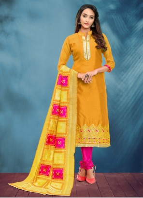 Churidar Salwar Suit Fancy Banarasi Silk in Yellow