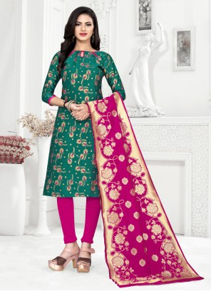 Churidar Salwar Suit Weaving Banarasi Silk in Green