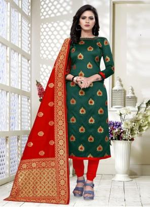 Churidar Salwar Suit Weaving Banarasi Silk in Green