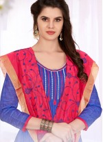 Churidar Suit Embroidered Cotton   in Blue