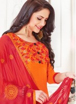 Churidar Suit Embroidered Cotton   in Orange