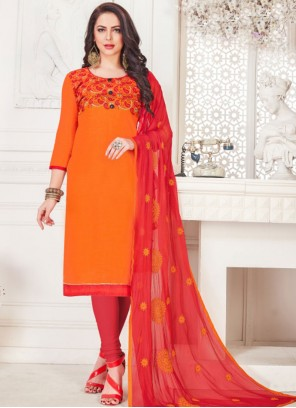 Churidar Suit Embroidered Cotton   in Orange