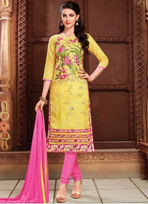 Churidar Suit Embroidered Cotton   in Yellow