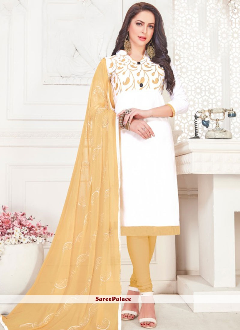 Churidar Suit Embroidered Cotton Satin in White