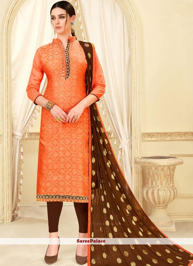 Orange Churidar Suit For Casual