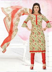 Multi Colour Churidar Suit For Casual