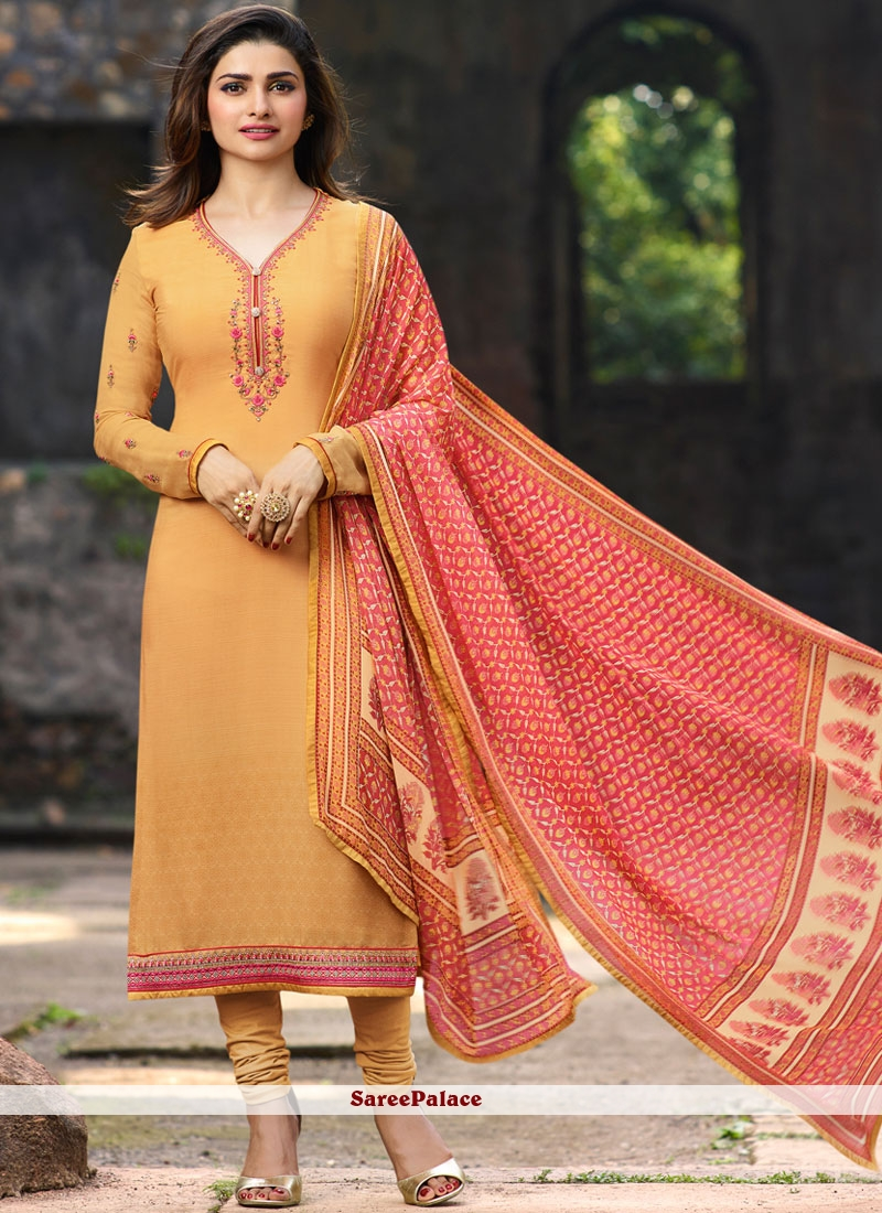 Orange Crepe Churidar Suit For Festival