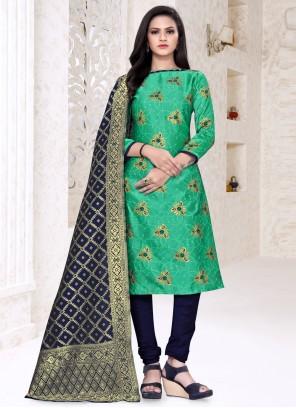 Green Churidar Suit For Festival