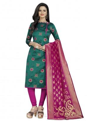 Churidar Suit Weaving Fancy Fabric in Rama