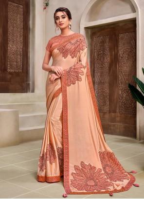 Classic Designer Saree Applique Georgette in Peach