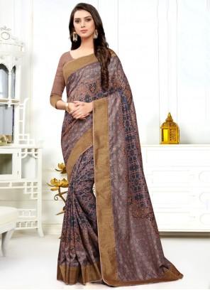 Classic Designer Saree Digital Print Silk in Multi Colour