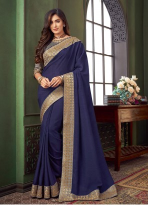 Classic Designer Saree Embroidered Fancy Fabric in Blue