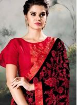 Classic Designer Saree Embroidered Faux Georgette in Black