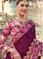Classic Designer Saree Embroidered Faux Georgette in Purple