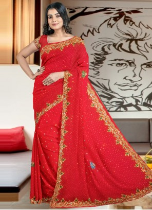 Classic Designer Saree Embroidered Faux Georgette in Red