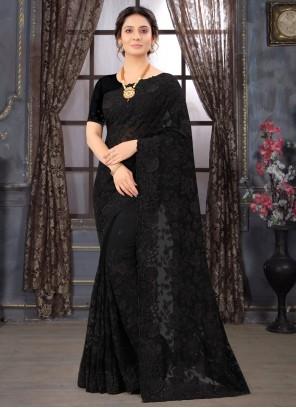 Classic Designer Saree Embroidered Georgette in Black
