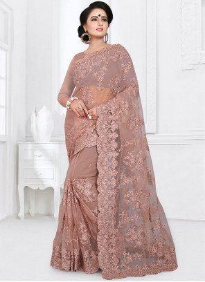 Classic Designer Saree Embroidered Net in Brown