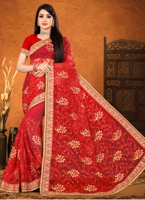 Classic Designer Saree Embroidered Net in Red