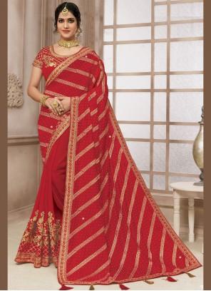 Classic Designer Saree Embroidered Satin Silk in Red