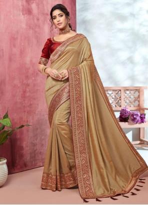 Classic Designer Saree Embroidered Silk in Beige