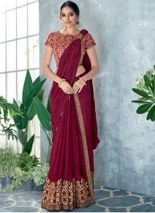 Classic Designer Saree Embroidered Silk in Maroon
