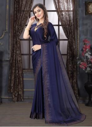 Classic Navy Blue Designer Saree For Ceremonial