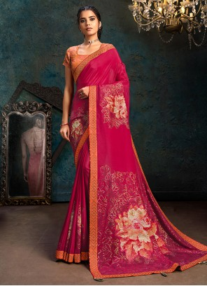 Classic Designer Hot Pink Saree For Engagement