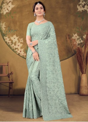 Green Classic Designer Saree For Party