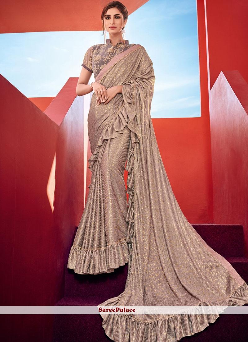 05f62b637 Buy Pink Classic Designer Ruffle Saree For Wedding Online