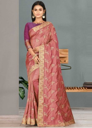Classic Designer Saree Handwork Satin Silk in Pink
