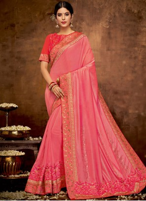 Classic Designer Saree Patch Border Faux Georgette in Pink