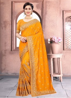 Classic Designer Saree Patch Border Vichitra Silk in Mustard