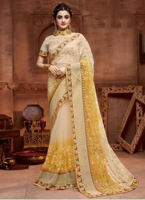 Classic Designer Saree Resham Net in Cream and Yellow