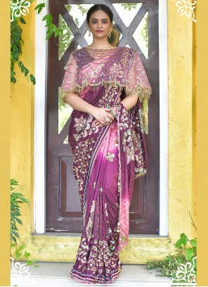 Classic Designer Saree Sequins Silk in Purple