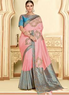 Classic Designer Saree Thread Work Georgette in Pink