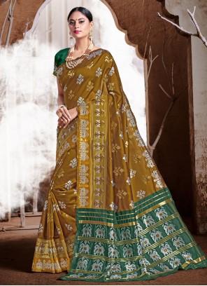 Classic Designer Saree Weaving Banarasi Silk in Brown
