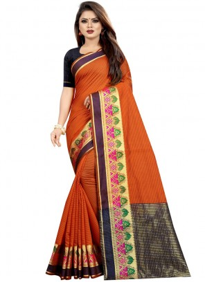 Classic Designer Saree Woven Cotton in Orange