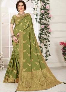 Classic Designer Saree Zari Banarasi Silk in Green